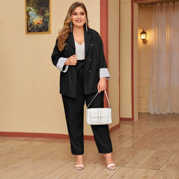 Plus Double Breasted Blazer & Paperbag Waist Belted Pants, Black