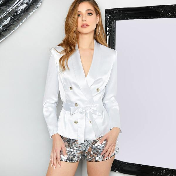 Shawl Collar Double Breasted Self Belted Satin Blazer, White