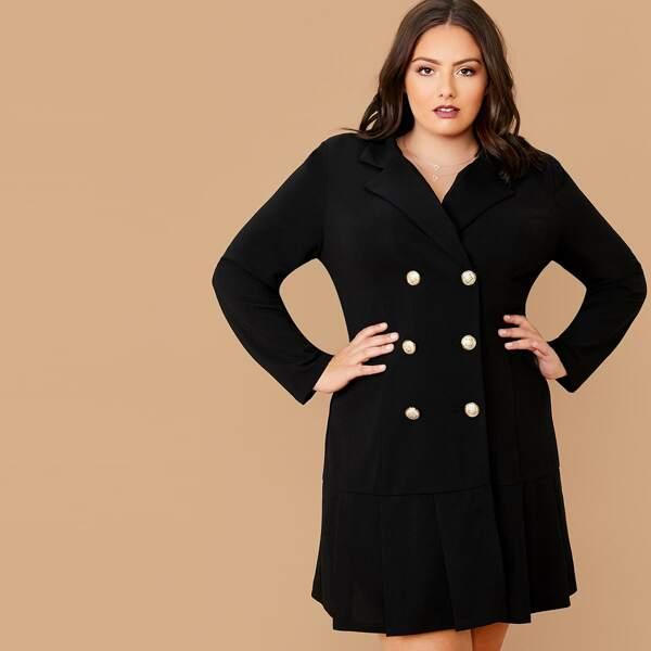Plus Lapel Collar Double Breasted Pleated Hem Blazer Dress, Black