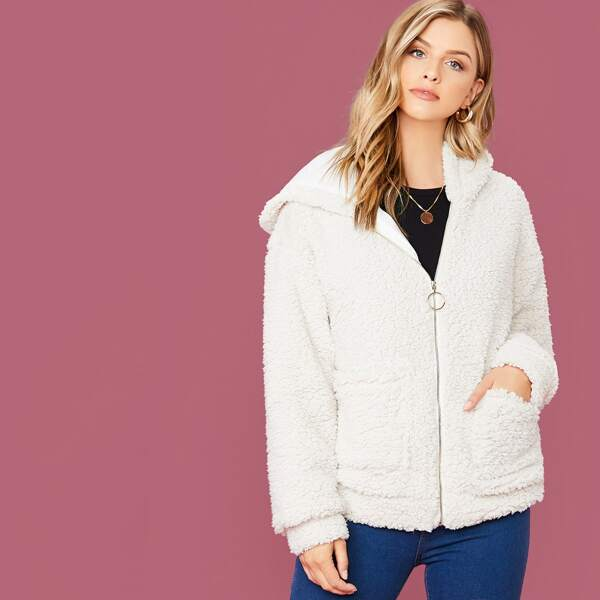 Pocket Front O-ring Zip Up Hooded Teddy Jacket, White