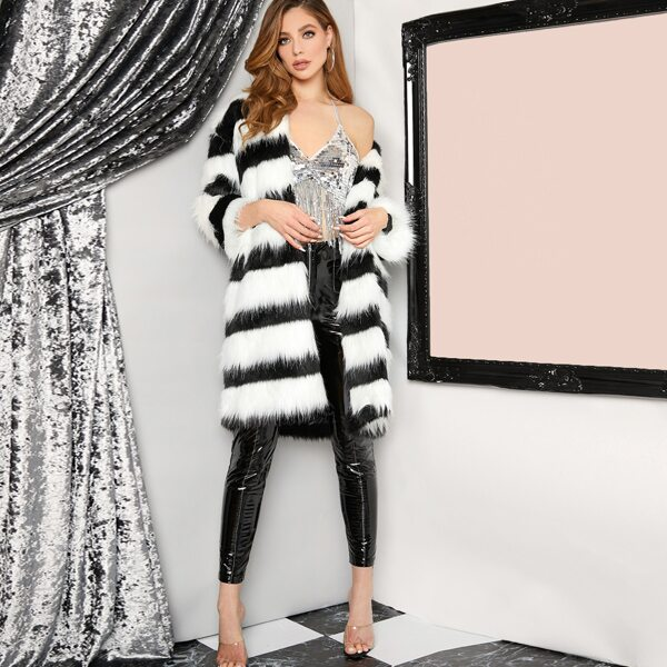 Two Tone Striped Faux Far Coat, Black and white