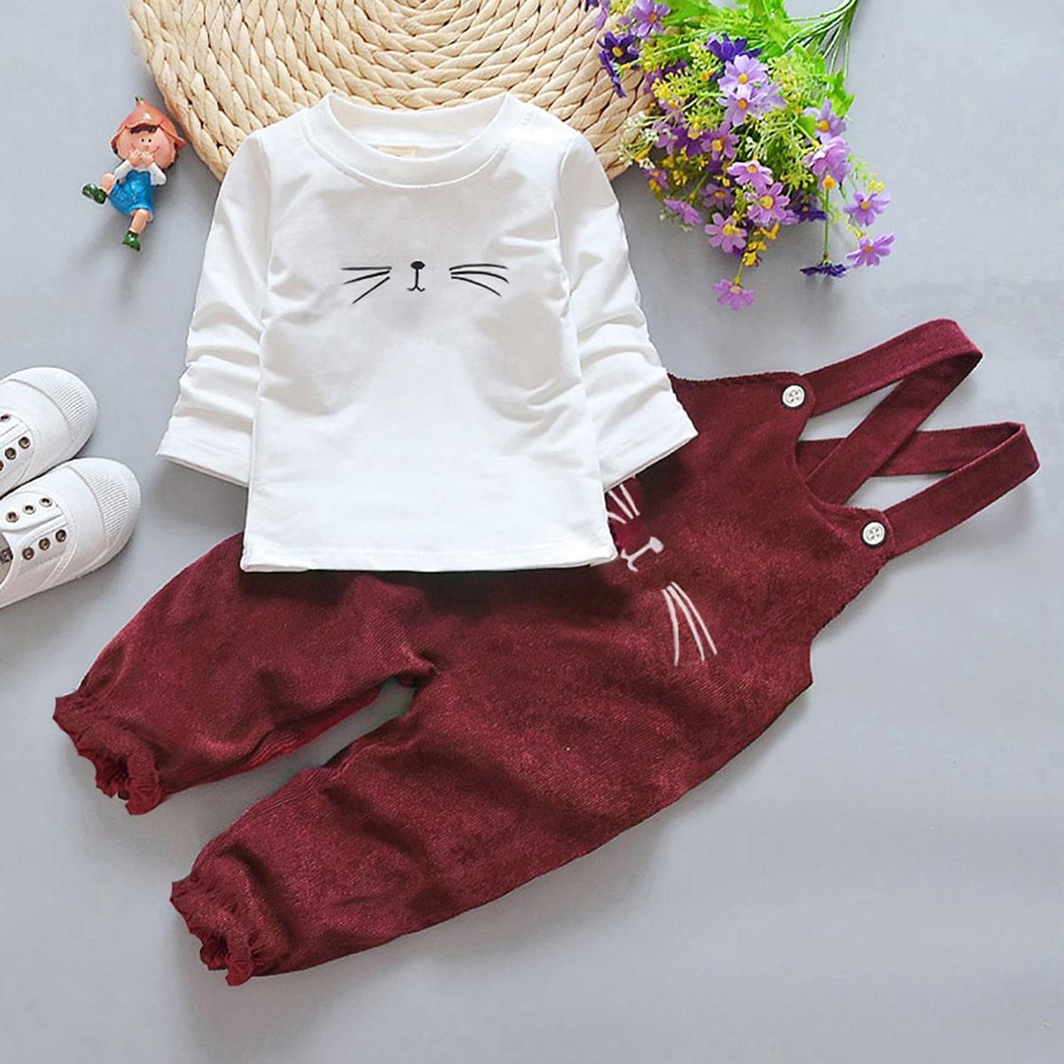 Вельветовый комбинезон и футболка с мультяшным принтом для девочек от SHEIN