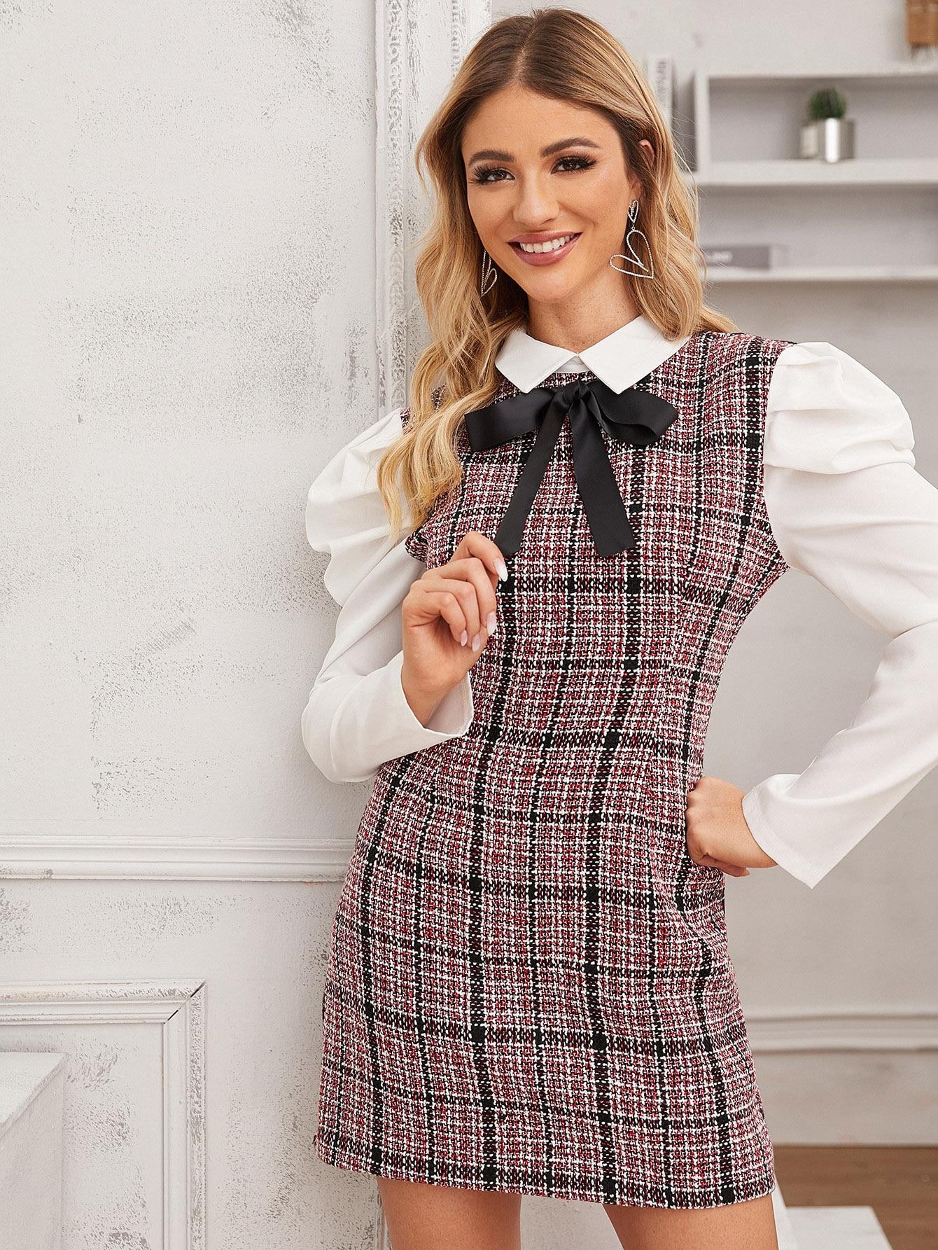 Твидовое облегающее платье с контрастным пышным рукавом