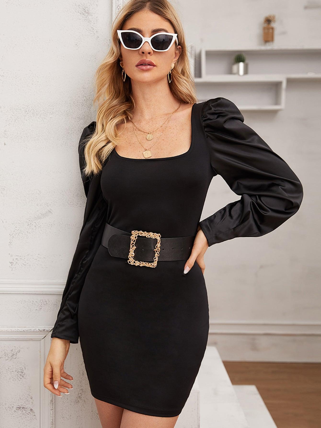 Однотонное облегающее платье с пышным рукавом без пояса