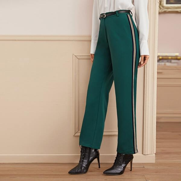 Side Striped Belted Straight Leg Pants, Green