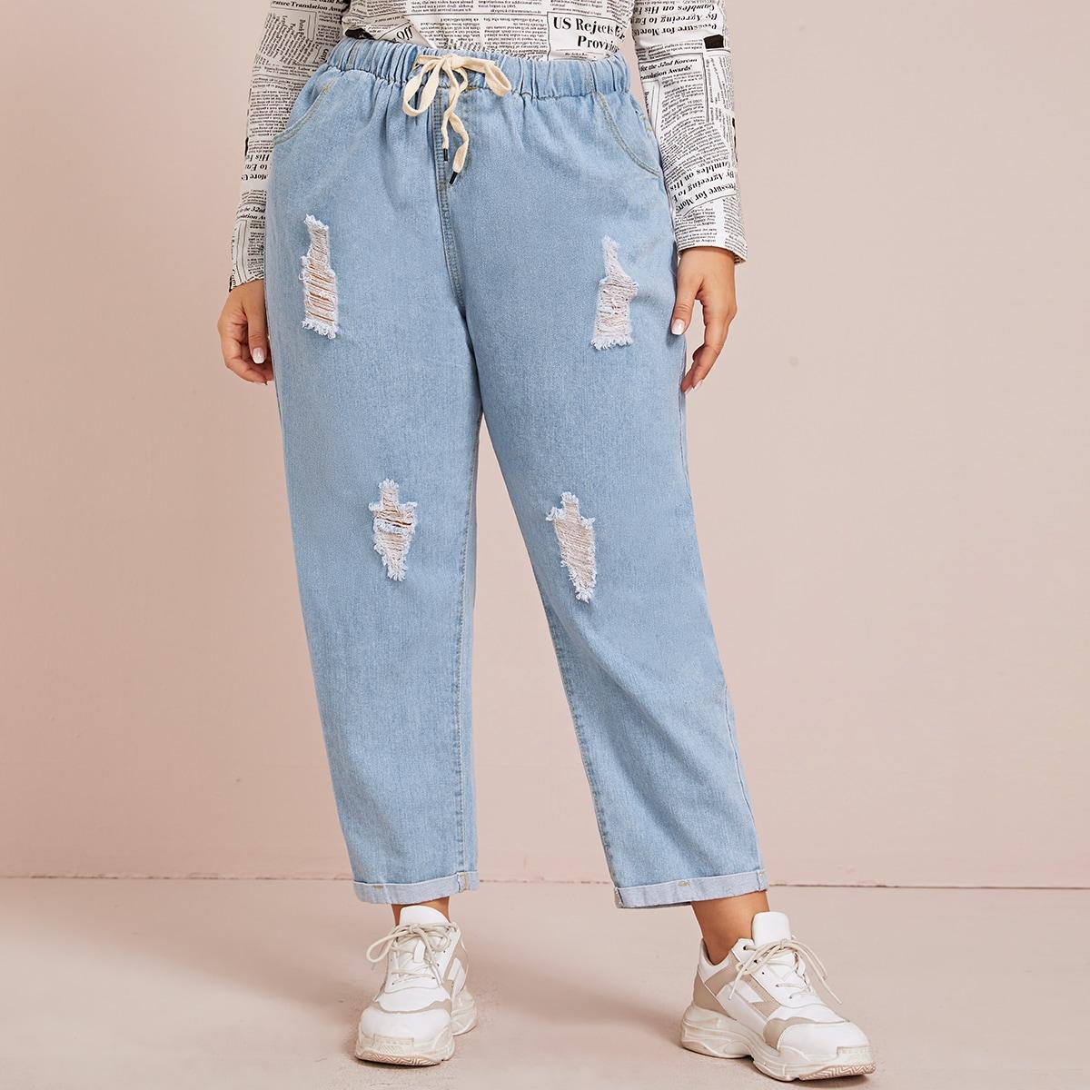 Blauw Casual Vlak Grote maten: jeans Gescheurd