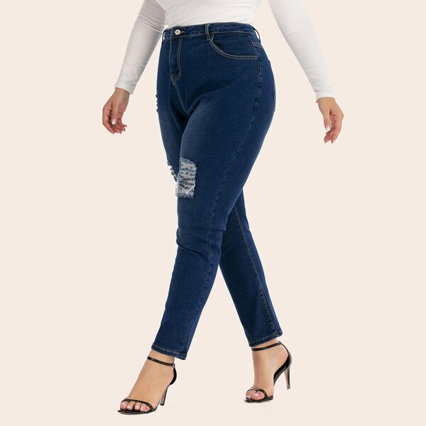 Plus Ripped Wash Skinny Jeans, Navy