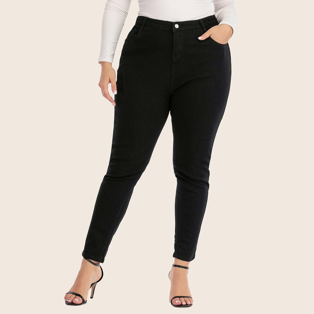 Zwart Casual Vlak Grote maten: jeans