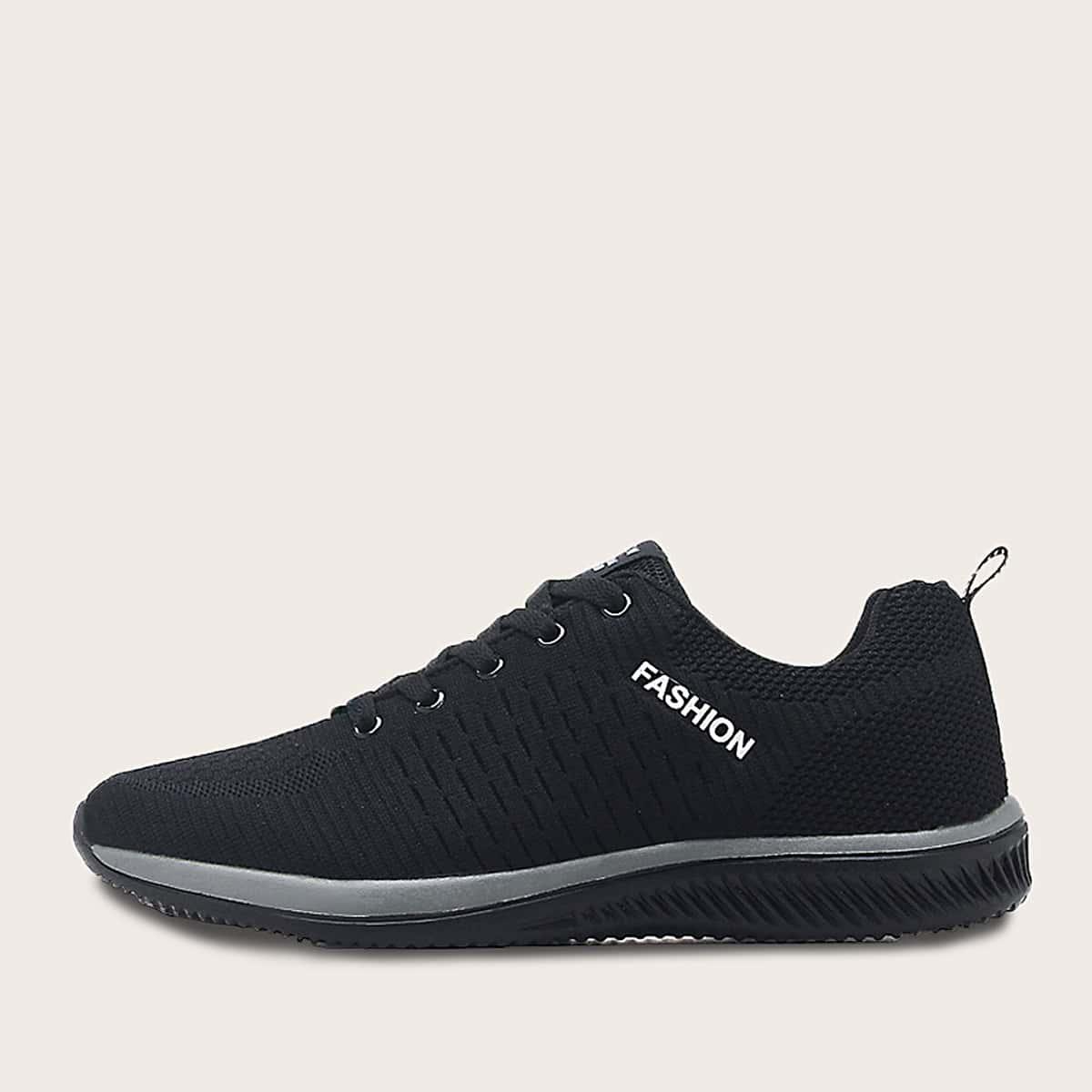 Zwart Comfortabel Tekst Heren sneakers