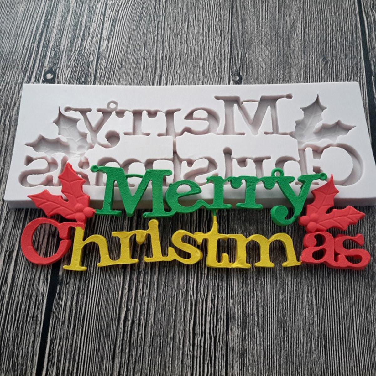 1pc kerst slogan siliconen bakvorm