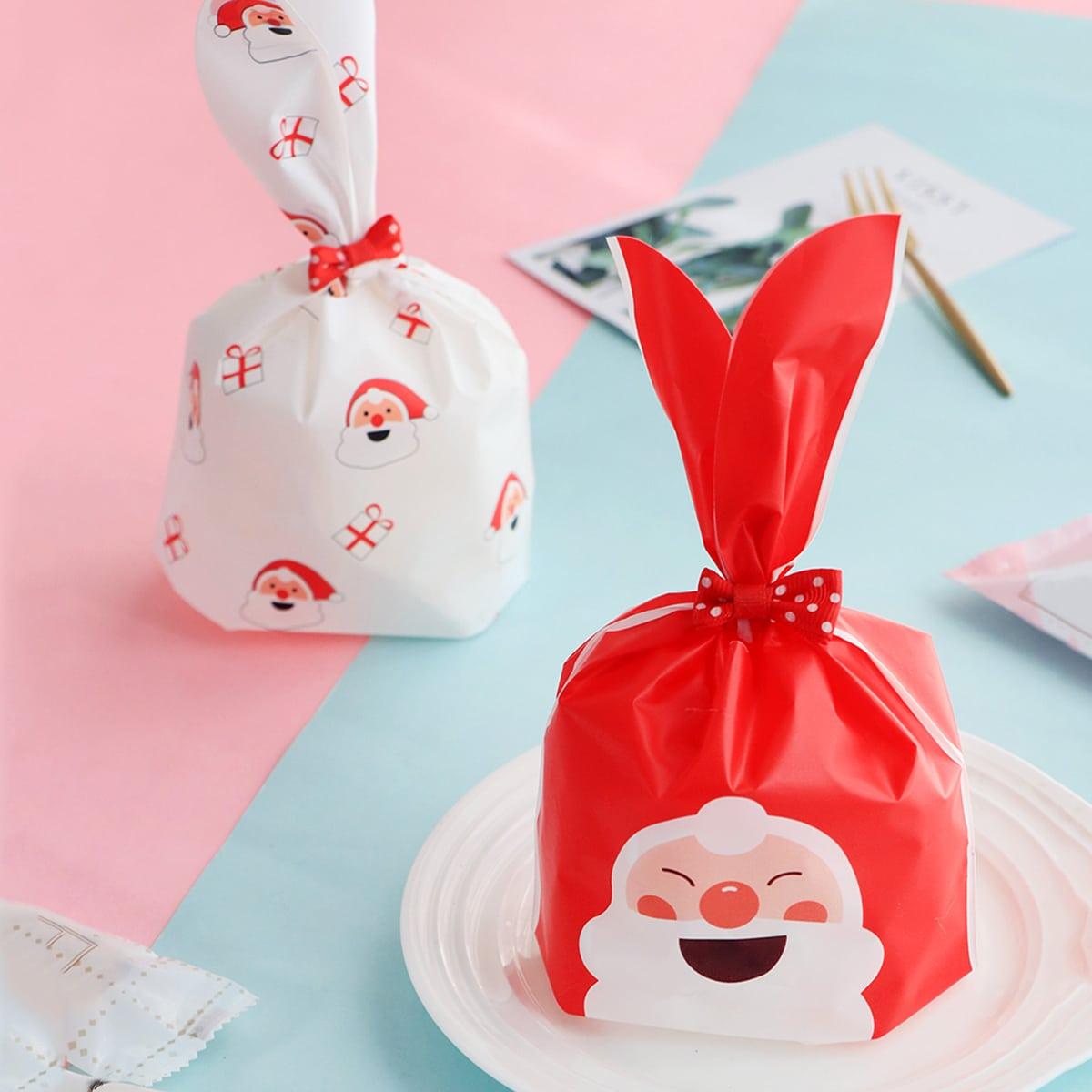 50 stks kerstman print konijn oor koekjestasje