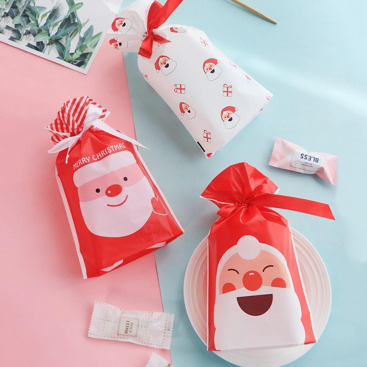 10-delige kerstman print koekjestas met trekkoord