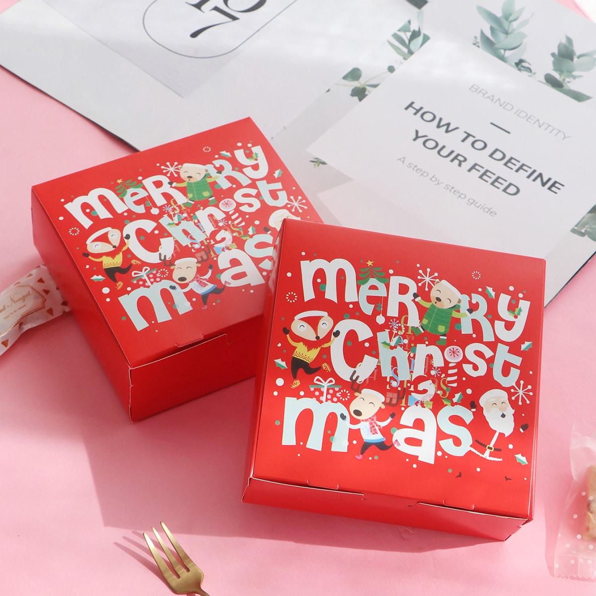 10 stks Christmas Print Cookie Pakket Box