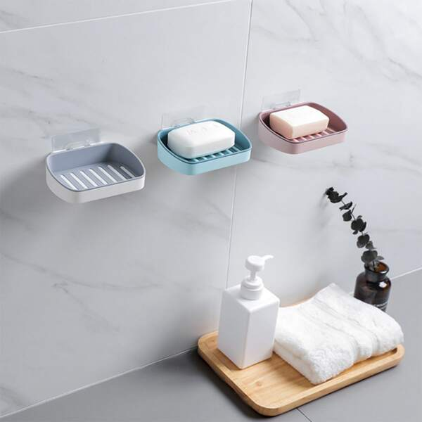 1pc Wall Mounted Soap Dish Holder, Multicolor