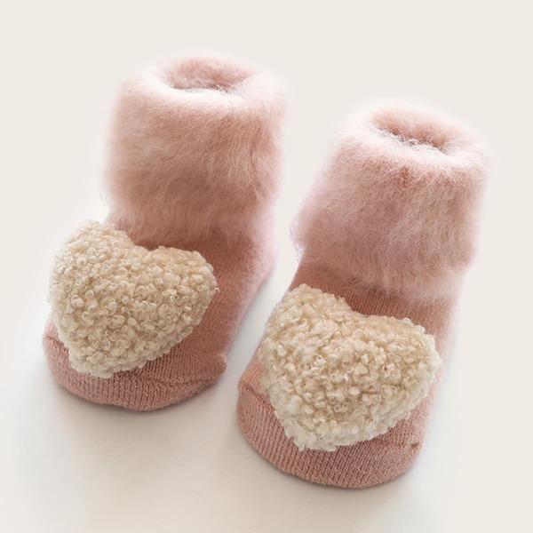 1pair Baby Fluffy Heart Decor Socks, Multicolor