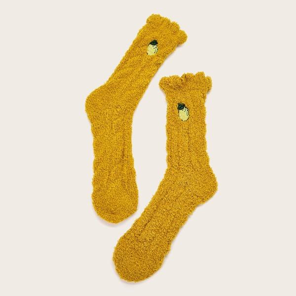1pair Fluffy Fruit Pattern Floor Socks, Yellow