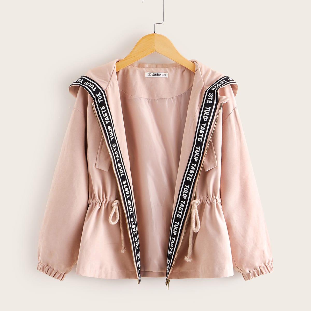 SHEIN / Pink Reißverschluss  Buchstaben  Lässig Mädchen Oberbekleidung