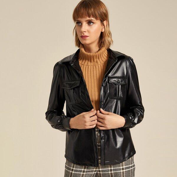 Flap Pocket Front Faux Leather Jacket, Black