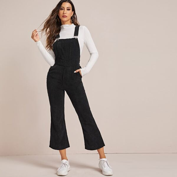 Solid Pocket Flare Leg Corduroy Overall, Black
