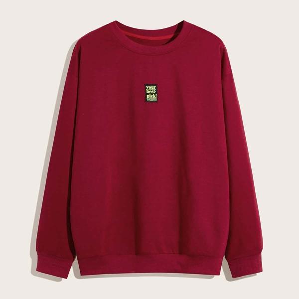 Men Letter Graphic Sweatshirt, Red