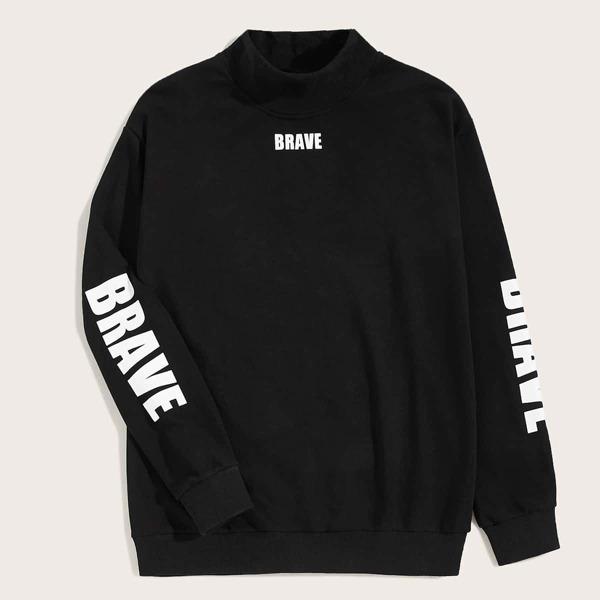 Men Mock Neck Letter Graphic Sweatshirt, Black