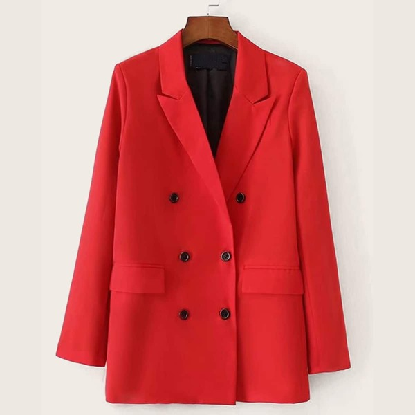 Plus Double Breasted Lapel Collar Blazer, Red bright