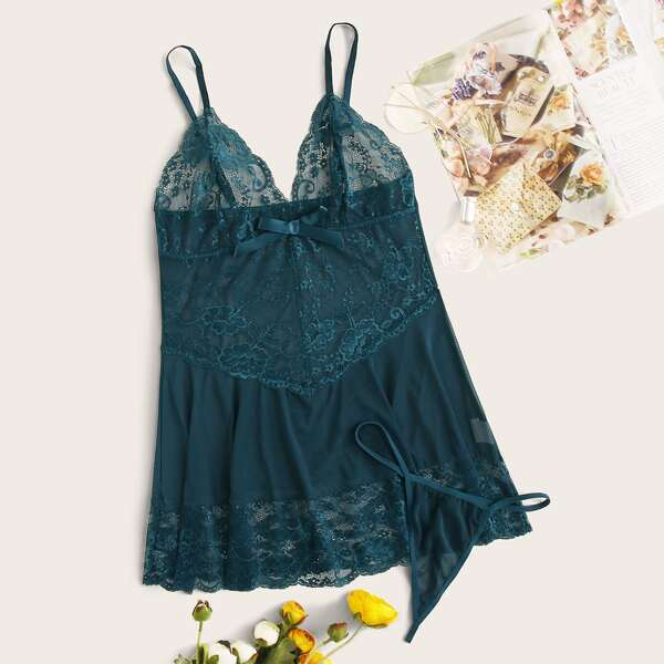 Contrast Lace Slips With Thong, Green
