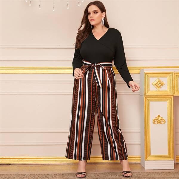 Plus Vertical Striped Belted Wide Leg Jumpsuit, Multicolor