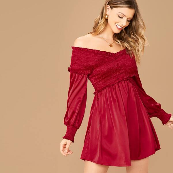 Frill Trim Shirred Cross Wrap Front Off Shoulder Satin Dress, Burgundy