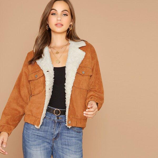 Flap Pocket Front Faux Shearling Jacket, Camel