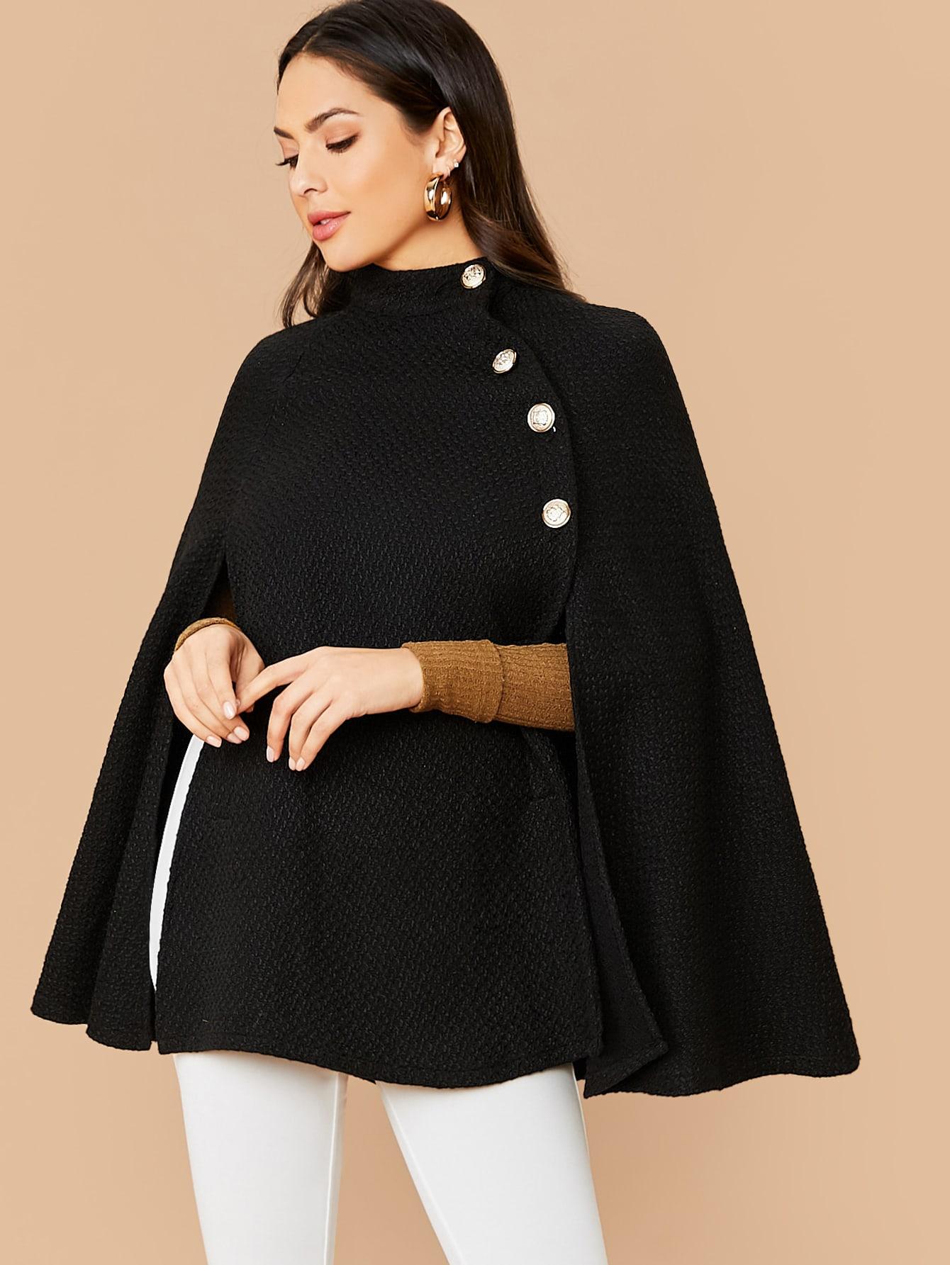 Твидовое пальто-кейп с пуговицами и воротником-стойкой
