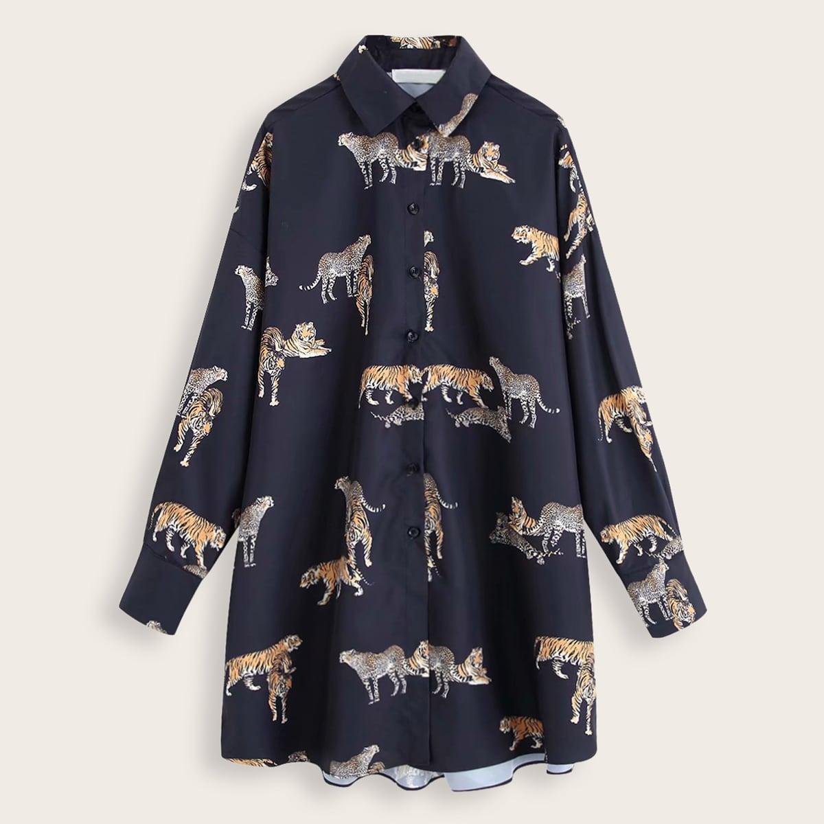 Платье-рубашка с пуговицами, леопардовым и тигровым принтом Image