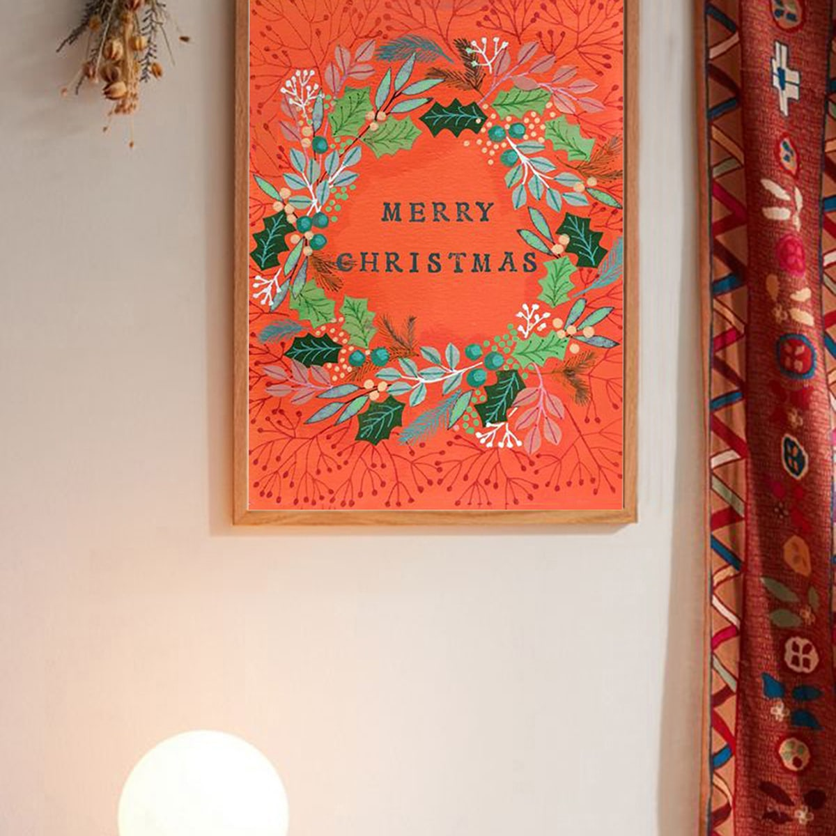 Kerstkrans muurafdruk zonder lijst