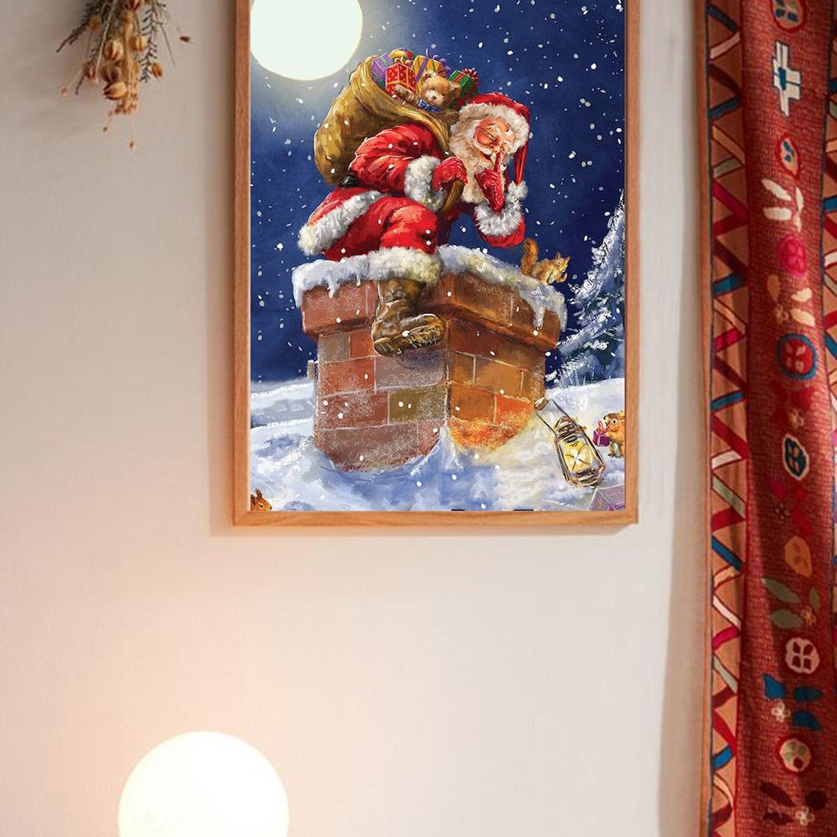 Kerst Santa Claus-muurdruk zonder lijst
