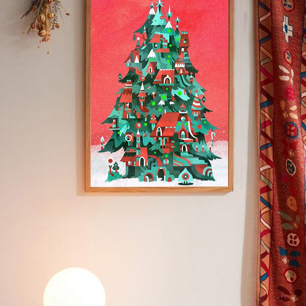 Kerstboom muur afdrukken zonder lijst
