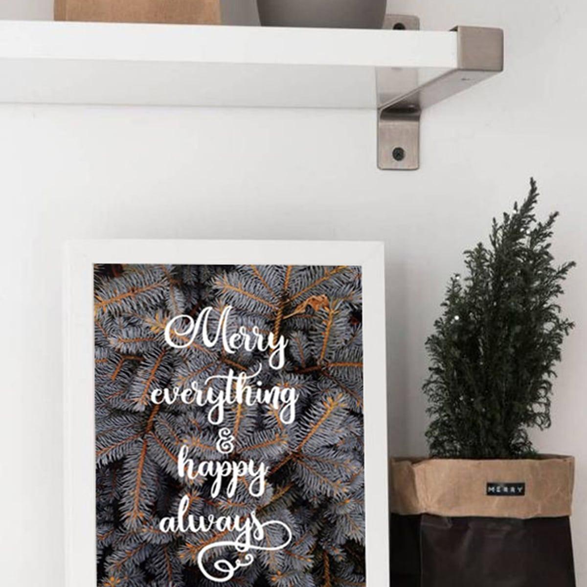 Kerst Slogan & dennennaald muurafdruk zonder lijst
