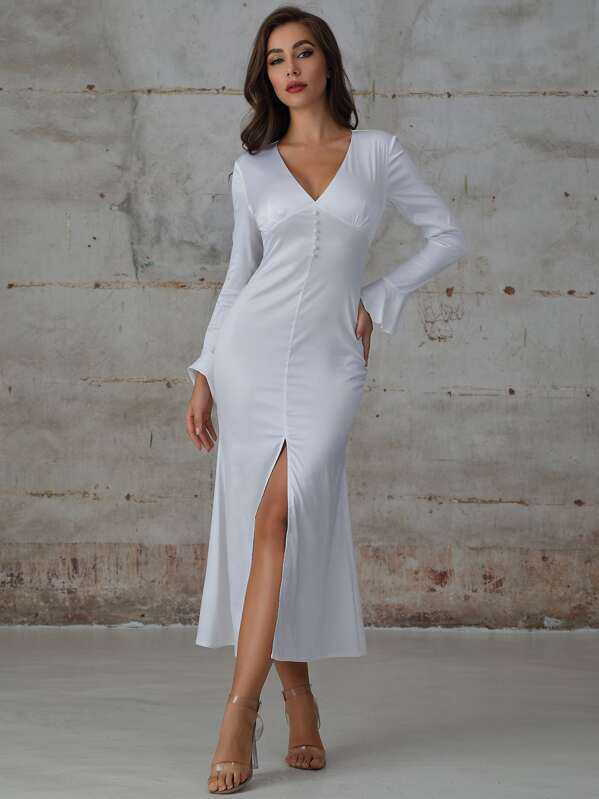 Double Crazy Button Front Flounce Sleeve Slit Hem Satin Dress, White, Hanna