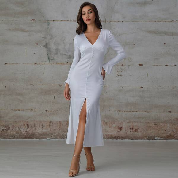 Double Crazy Button Front Flounce Sleeve Slit Hem Satin Dress, White