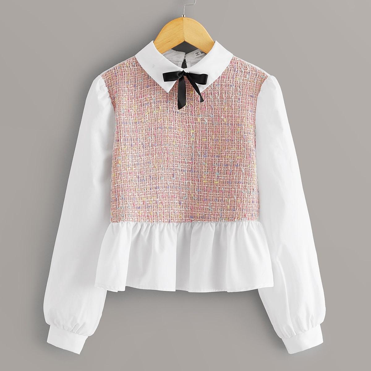 Блуза с твидовой вставкой и бантом для девочек от SHEIN