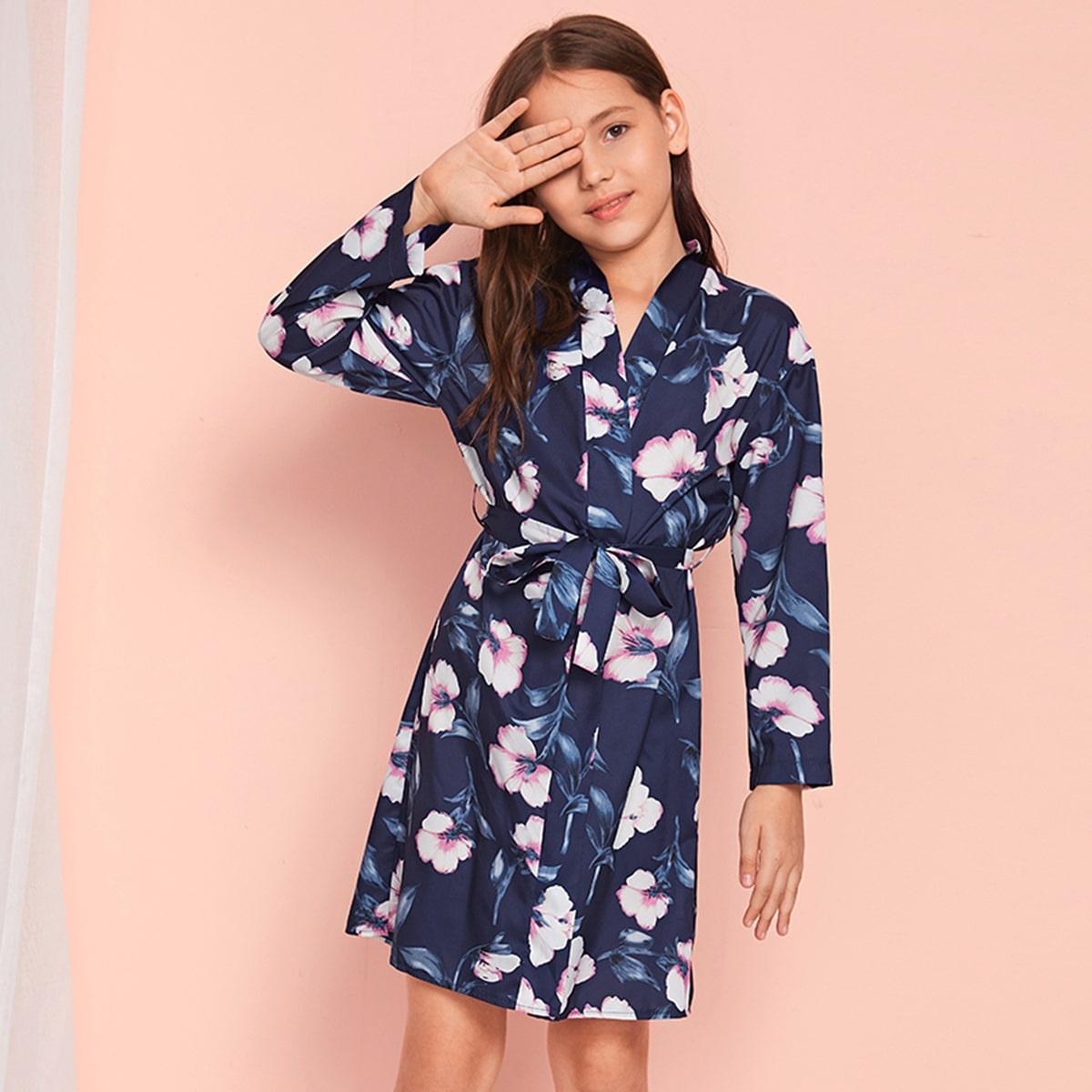 SHEIN / Mädchen Floral Belted Satin Robe