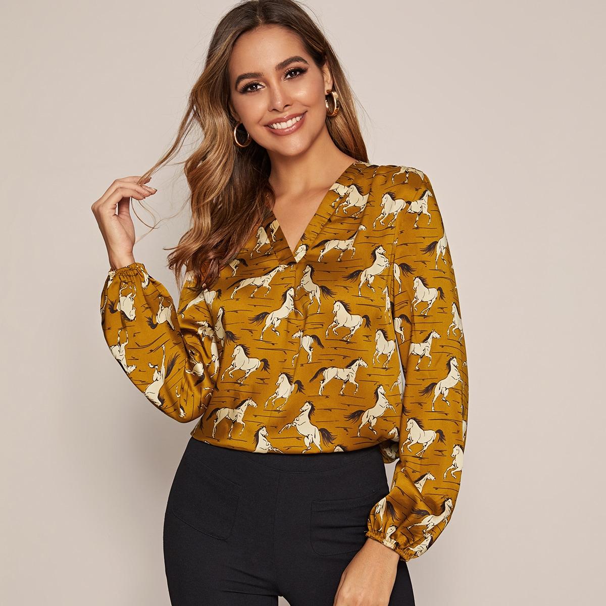 SHEIN / Bluse mit V Ausschnitt und Tier Muster