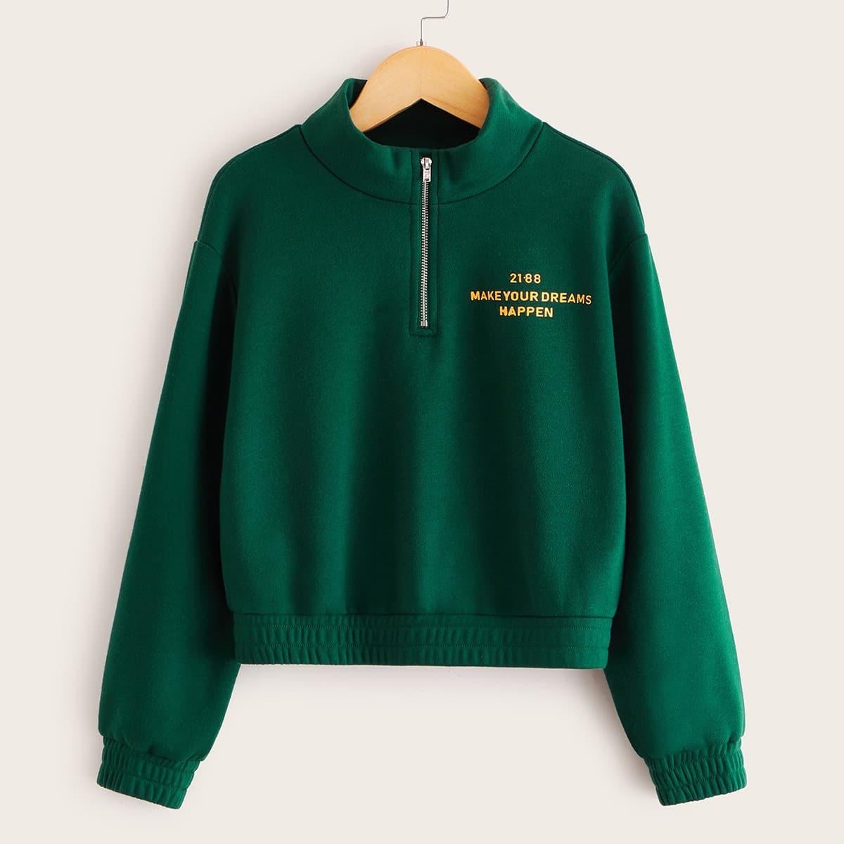 Пуловер с текстовым принтом и молнией для девочек от SHEIN