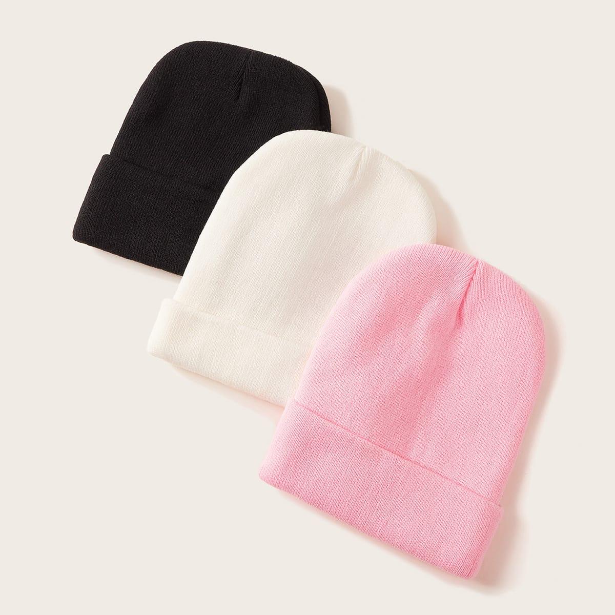 Твердые вязаные шапочки 3шт от SHEIN