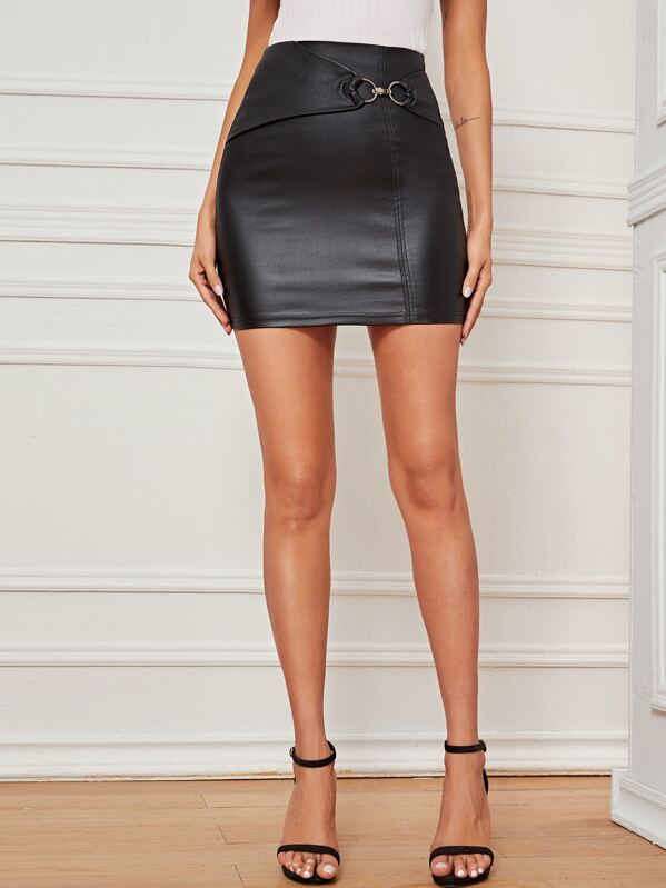 Solid O-Ring Detail Bodycon Denim Skirt, Black, Andy