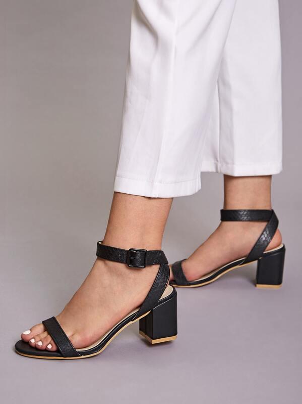 Snakeskin Print Ankle Strap Chunky Heels, Black