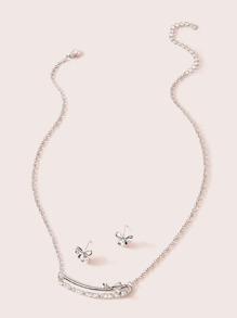 Rhinestone | Necklace | Engrave | Earring
