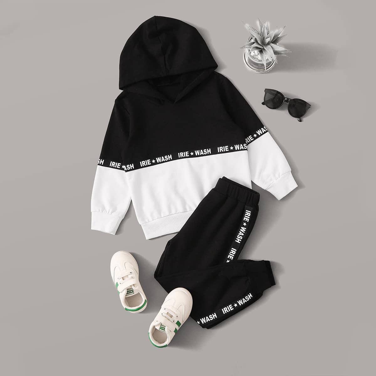 Двухцветная толстовка с текстовой лентой и спортивные брюки для девочек от SHEIN