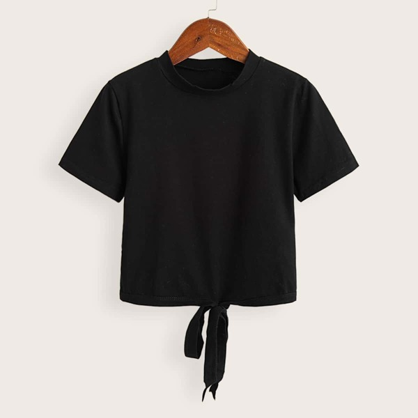 Solid Tie Front Short Sleeve Tee, Black