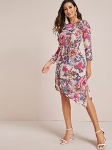 Chiffon | Floral | Dress | Print | Belt | Back | Out | Cut