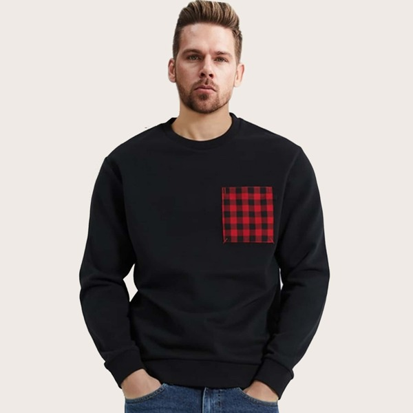 Men Gingham Pocket Patched Sweatshirt, Black
